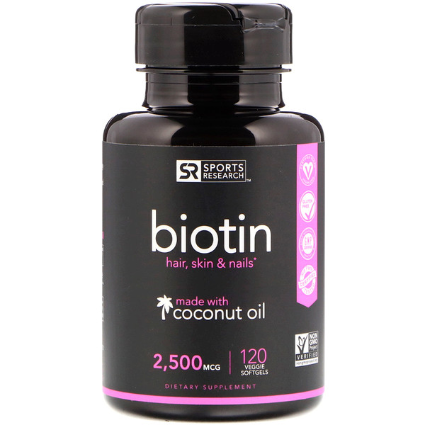 Biotin with Coconut Oil, 2,500 mcg, 120 Veggie Softgels