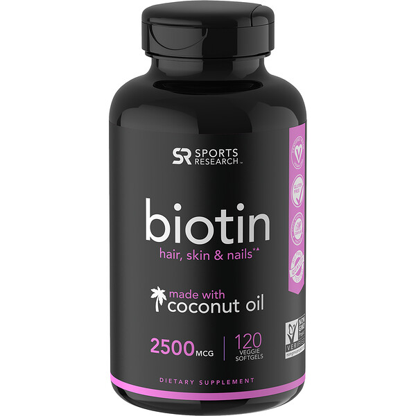 Sports Research, Biotin with Coconut Oil, 2,500 mcg, 120 Veggie Softgels