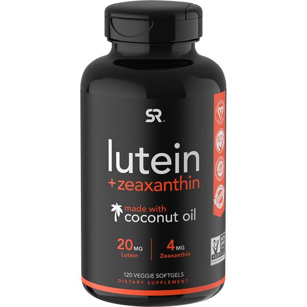 Lutein + Zeaxanthin with Coconut Oil, 120 Veggie Softgels