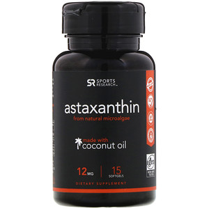 Спортс Ресерч, Astaxanthin Made With Coconut Oil, 12 mg, 15 Softgels отзывы покупателей