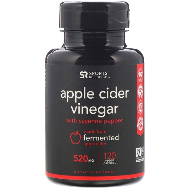 Sports Research, Apple Cider Vinegar with Cayenne Pepper, 520 mg, 120 Veggie Capsules