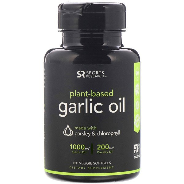 Sports Research, Plant Based, Garlic Oil with Parsley & Chlorophyll, 150 Veggie Softgels