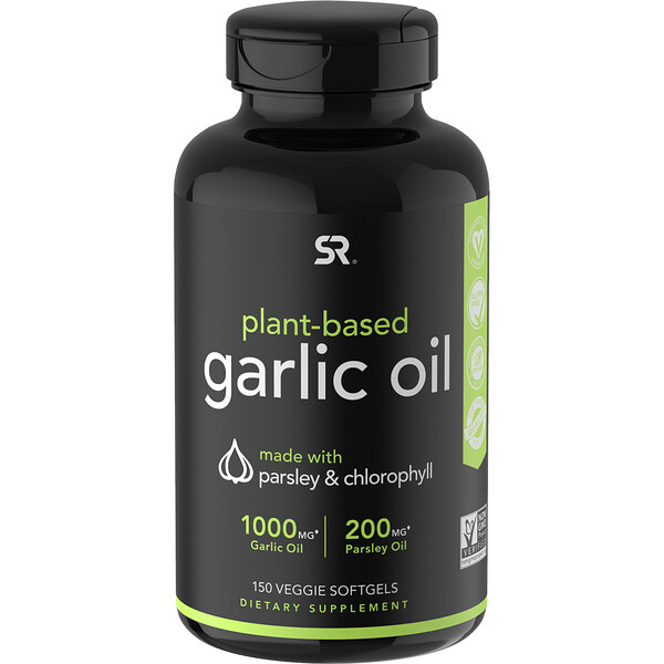 Sports Research, Plant-Based, Garlic Oil with Parsley & Chlorophyll, 150 Veggie Softgels