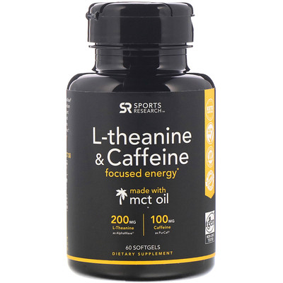 Купить Sports Research L-Theanine & Caffeine with MCT Oil, 60 Softgels