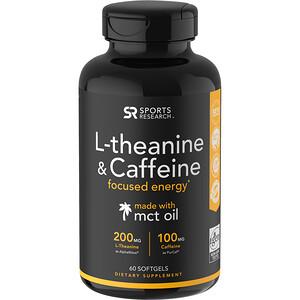 Спортс Ресерч, L-Theanine & Caffeine with MCT Oil, 60 Softgels отзывы
