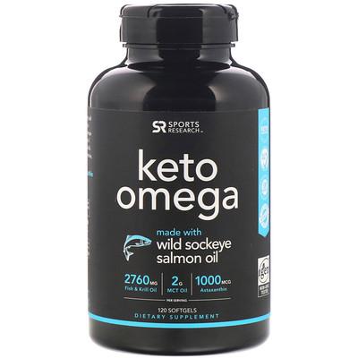 Купить Sports Research Keto Omega, кето омега с рыбьим жиром дикой красной нерки, 120мягких таблеток