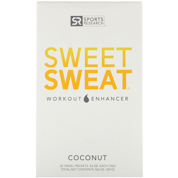 Sports Research, Sweet Sweat Workout Enhancer, Coconut, 20 Travel Packets, 0.53 oz (15 g) Each