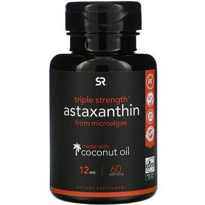 Купить Sports Research Astaxanthin, Triple Strength, 12 mg, 60 Softgels