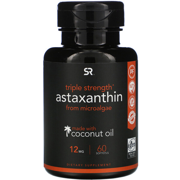 Astaxanthin, Triple Strength, 12 mg, 60 Softgels