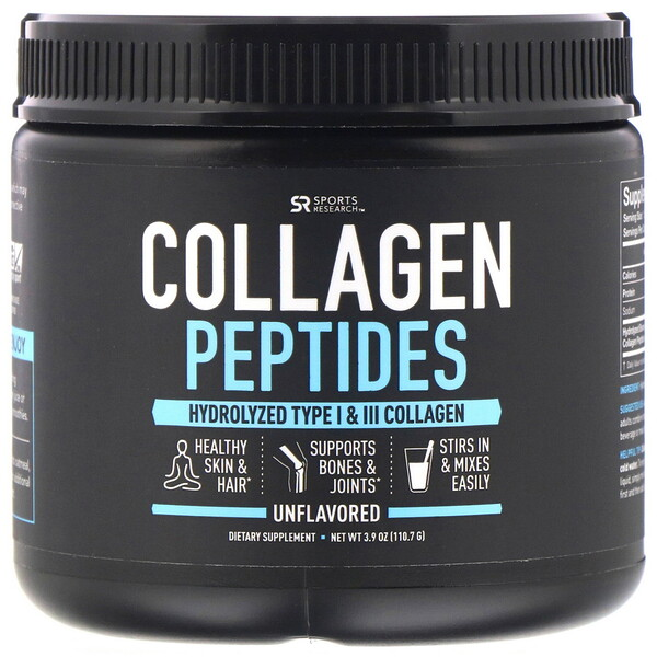 Sports Research, Collagen Peptides, Hydrolyzed Type I & III Collagen, Unflavored, 3.9 oz (110.7 g)