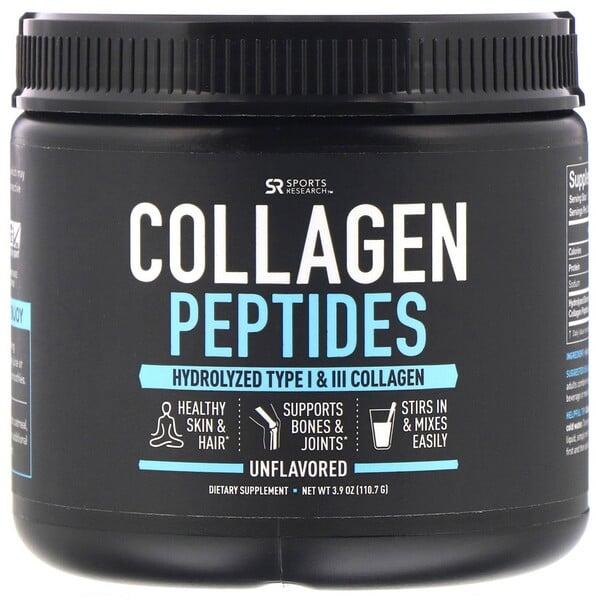 कोलाजन पेप्टाइड्स, हाइड्रोलाइज़्ड टाइप I और III कोलाजेन, फ़्लेवर रहित, 3.9 आउंस (110.7 ग्राम)