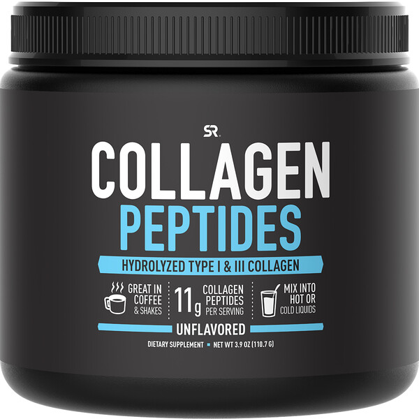 Collagen Peptides, Hydrolyzed Type I & III Collagen, Unflavored, 3.9 oz (110.7 g)
