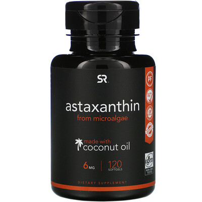 Купить Sports Research Astaxanthin with Coconut Oil, 6 mg, 120 Softgels