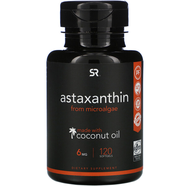 Astaxanthin with Coconut Oil,  6 mg, 120 Softgels