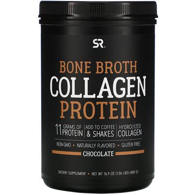 Купить Sports Research Bone Broth Collagen Protein, Chocolate, 1.06 lb (480 g)