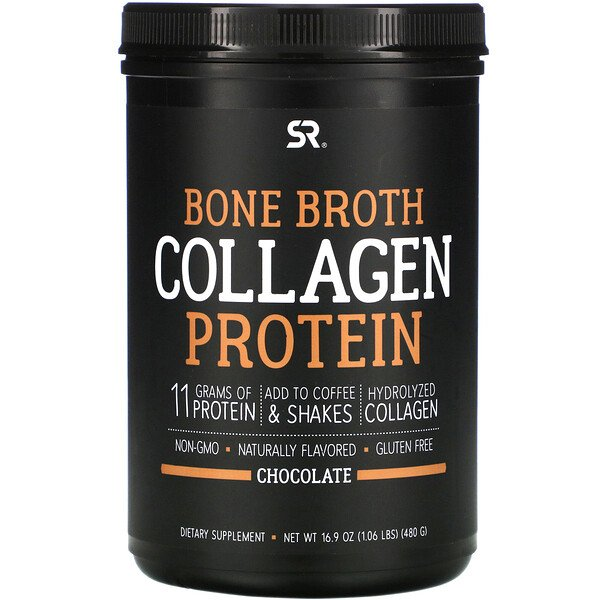 Sports Research, Bone Broth Collagen Protein, Chocolate, 1.06 lb (480 g)
