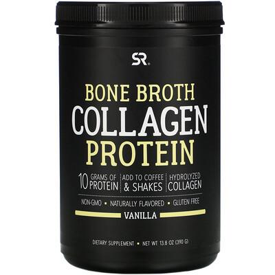 Купить Sports Research Bone Broth Collagen Protein, Vanilla, 13.8 oz (390 g)