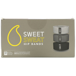 Sports Research, Sweet Sweat Hip Bands, Gray, 3 Bands