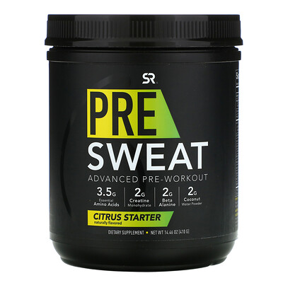 Купить Sports Research Pre-Sweat Advanced Pre-Workout, Citrus Starter, 14.46 oz (410 g)