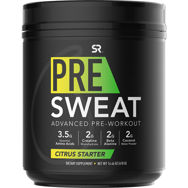 Sports Research, Pre-Sweat Advanced Pre-Workout, Citrus Starter, 14.46 oz (410 g)