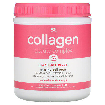 Купить Sports Research Collagen Beauty Complex, Marine Collagen, Strawberry Lemonade, 6.34 oz (180 g)