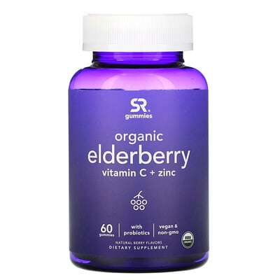 Купить Sports Research Organic Elderberry, Vitamin C + Zinc, Natural Berry Flavors, 60 Gummies