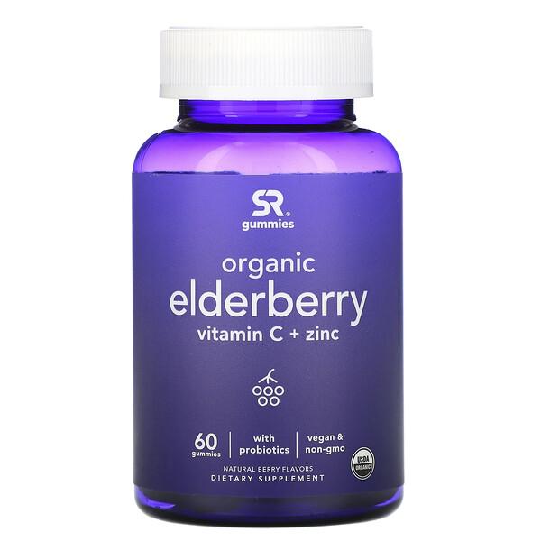 Organic Elderberry, Vitamin C + Zinc, Natural Berry Flavors, 60 Gummies