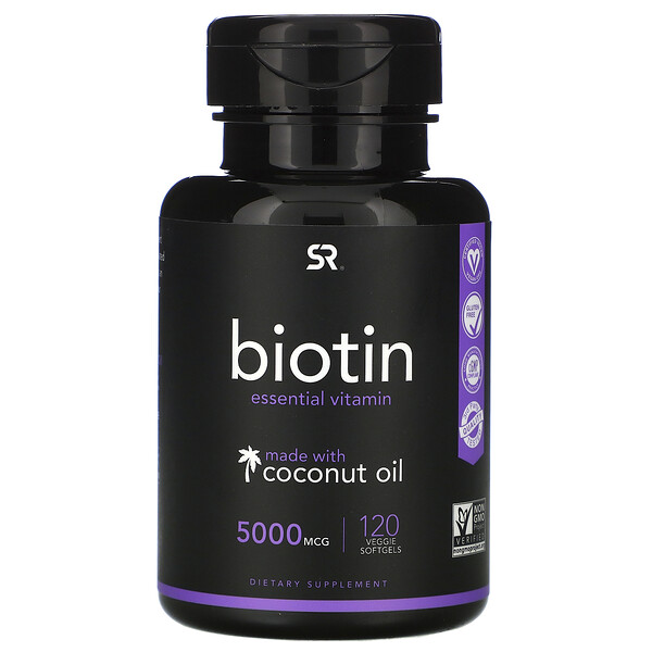 Sports Research, Biotin with Coconut Oil, 5,000 mcg, 120 Veggie Softgels