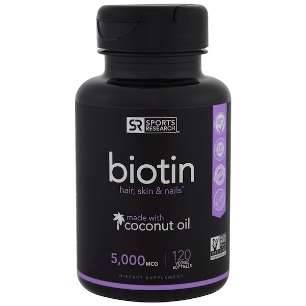 Biotin with Coconut Oil, 5,000 mcg, 120 Veggie Softgels