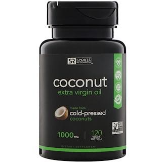 Sports Research, Extra Virgin Organic Coconut Oil, 1000 mg, 120 Veggie Softgels