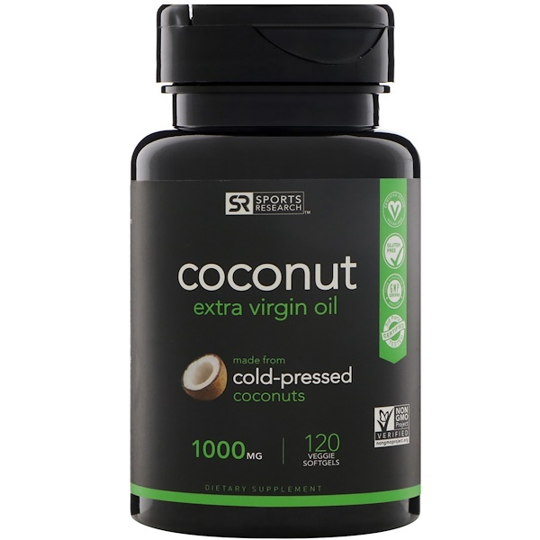 Sports Research, Extra Virgin Coconut Oil, 1000 mg, 120 Veggie Softgels