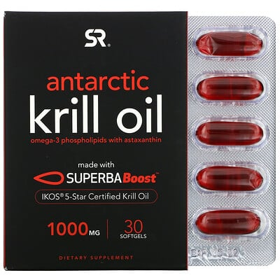 Sports Research SUPERBA Boost Antarctic Krill Oil with Astaxanthin, 1, 000 mg, 30 Softgels  - купить со скидкой