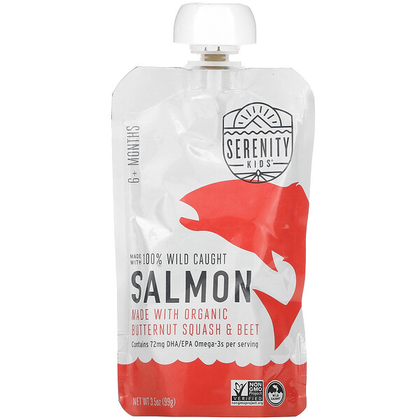 Serenity Kids, Salmon with Organic Butternut Squash & Beet, 6+ Months, 3.5 oz (99 g)