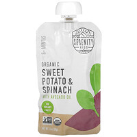 Serenity Kids, Baby Food, 6+ Months, Organic Sweet Potato & Spinach with Avocado Oil, 3.5 oz (99 g)