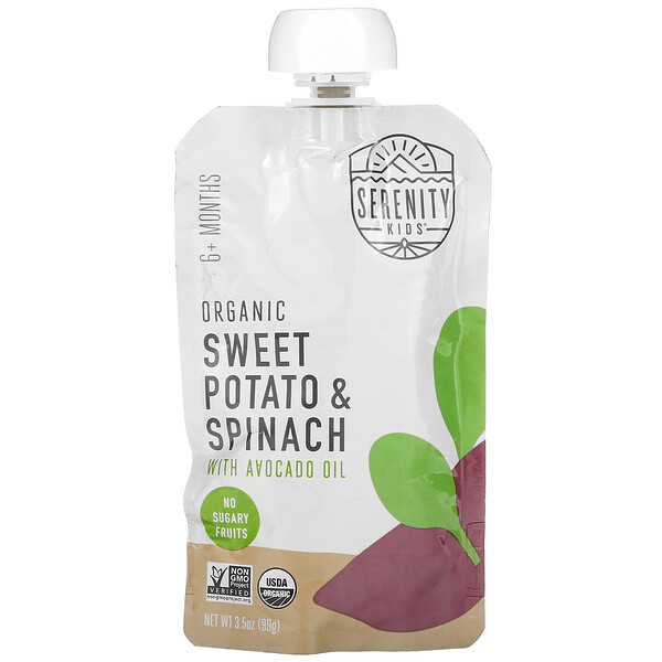 Baby Food, 6+ Months, Organic Sweet Potato & Spinach with Avocado Oil, 3.5 oz (99 g)