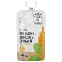 Serenity Kids, Baby Food, 6+ Months, Organic Butternut Squash & Spinach with Avocado Oil, 3.5 oz (99 g)