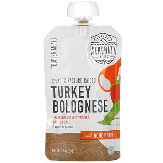 Serenity Kids, Turkey Bolognese with Bone Broth, Toddler Meals, 3.5 oz (99 g)