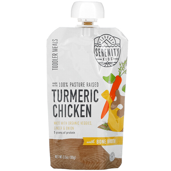 Toddler Meals, 100% Pasture Raised Turmeric Chicken with Organic Veggies, Ginger & Onion, 3.5 oz (99 g)