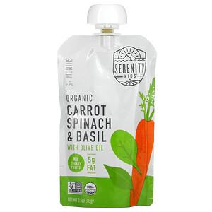 Serenity Kids, Organic Carrots, Spinach & Basil,  6+ Months, 3.5 oz (99 g)