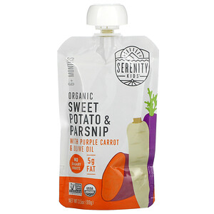 Serenity Kids, Organic Sweet Potato and Parsnips with Purple Carrot & Olive Oil, 6+ Months, 3.5 oz (99 g)