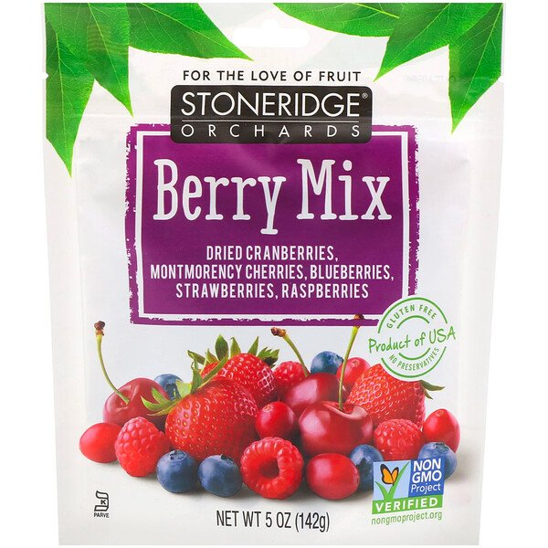 Stoneridge Orchards, Berry Mix, Whole Dried Mixed Berries, 5 oz (142 g)