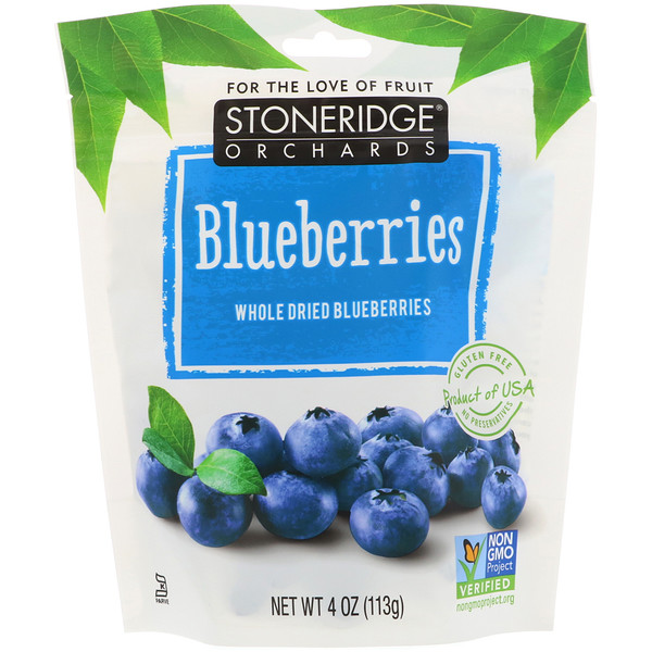 Blueberries, Whole Dried Blueberries, 4 oz (113 g)