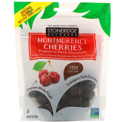 Montmorency Cherries, Dipped in Dark Chocolate, 70% Cocoa, 5 oz (142 g)