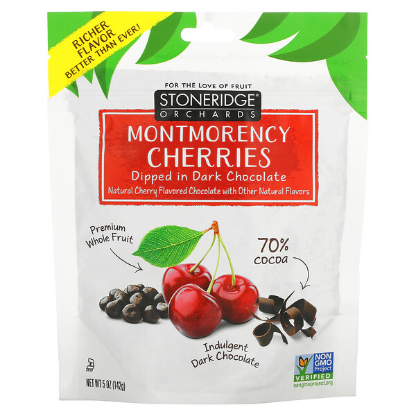 Stoneridge Orchards, דובדבנים מזן Montmorency טבולים בשוקולד מריר 70% קקאו, 142 גרם (5 אונקיות)