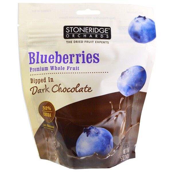 Blueberries, Dipped in Dark Chocolate, 70% Cocoa, 5 oz (142 g)