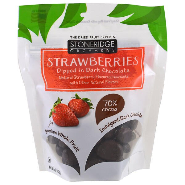 Stoneridge Orchards, Fresas bañadas en chocolate negro, 70 % de cacao, 142 g (5 oz)