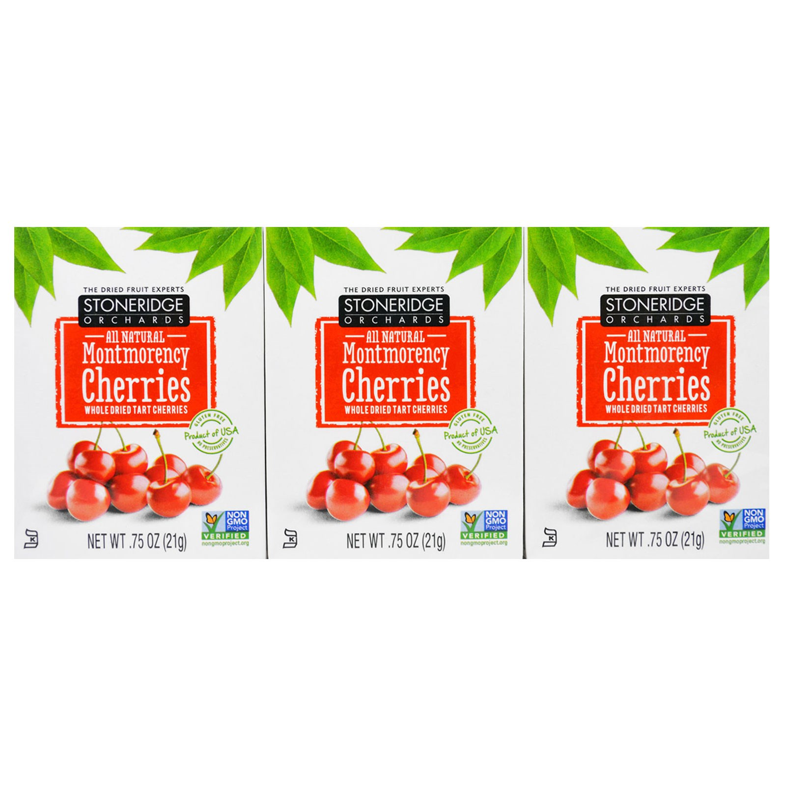 Stoneridge Orchards, Montmorency Cherries, Whole Dried Tart Cherries, Brick Pack (6 Boxes), 0.75 oz (21 g) Each