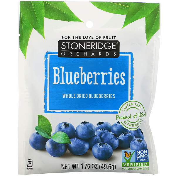 Stoneridge Orchards, Blueberries, Whole Dried Blueberries, 1.75 oz (49.6 g)