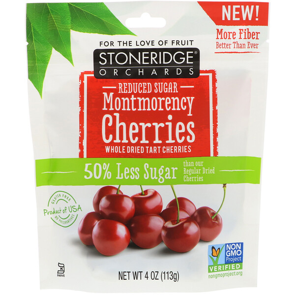 Stoneridge Orchards, Cerezas Montmorency, cerezas ácidas integrales secas, azúcar reducido, 113 g (4 oz)