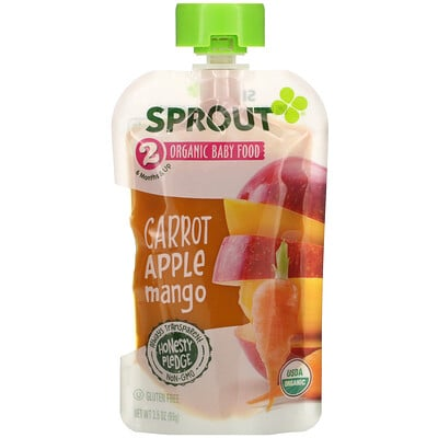 Купить Sprout Organic Baby Food, 6 Months & Up, Carrot Apple Mango, 3.5 oz (99 g)